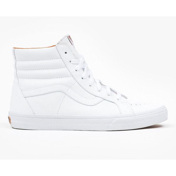 Vans Xtuff SK8 Hi Reissue (180 AUD) ❤ liked on Polyvore featuring shoes, sneakers, white trainers, lace up shoes, vans sneakers, lace up sneakers and lace up high top sneakers