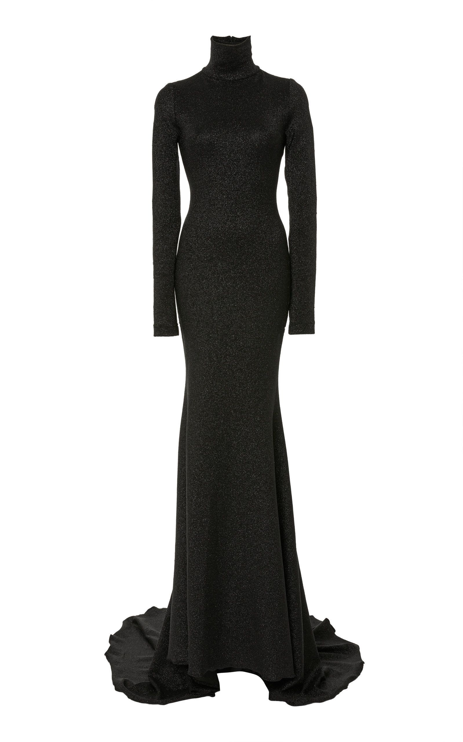 Shimmer Knit Turtleneck Gown by CHRISTIAN SIRIANO for Preorder on ...