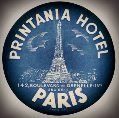 Printania Hotel Paris Luggage Sticker   :: Estampillas antiguas ...
