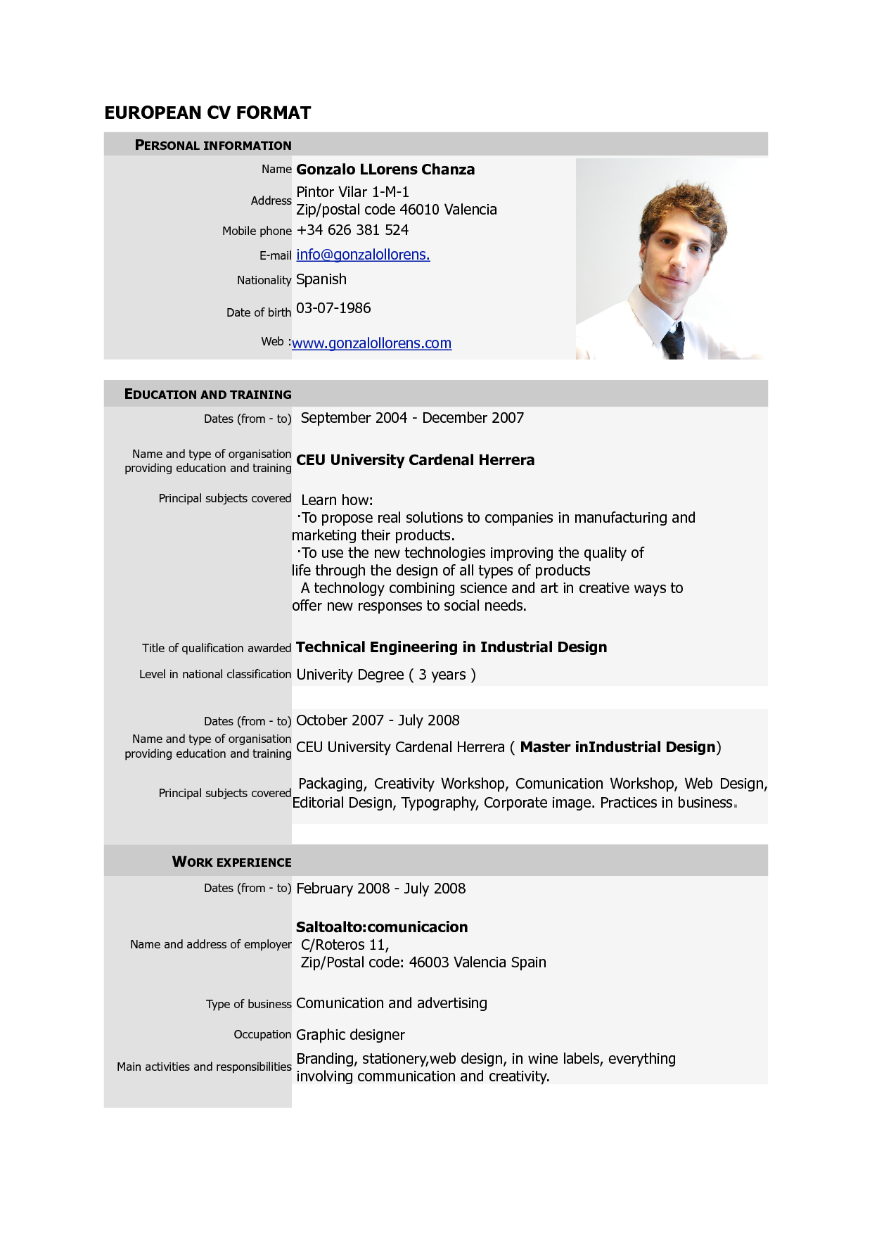 european format cv sample