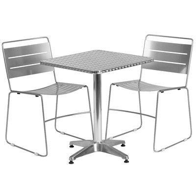"Flash Furniture 3 Piece Bistro Set Finish: Silver, Table Size: 23.5"" W x 23.5"" D"