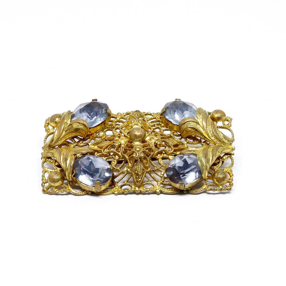 Art Deco 1920 Filigrane Gablonz Brosche Vergoldet Mit 4 Synthetischen Steinen Brosche Art Deco 1920er