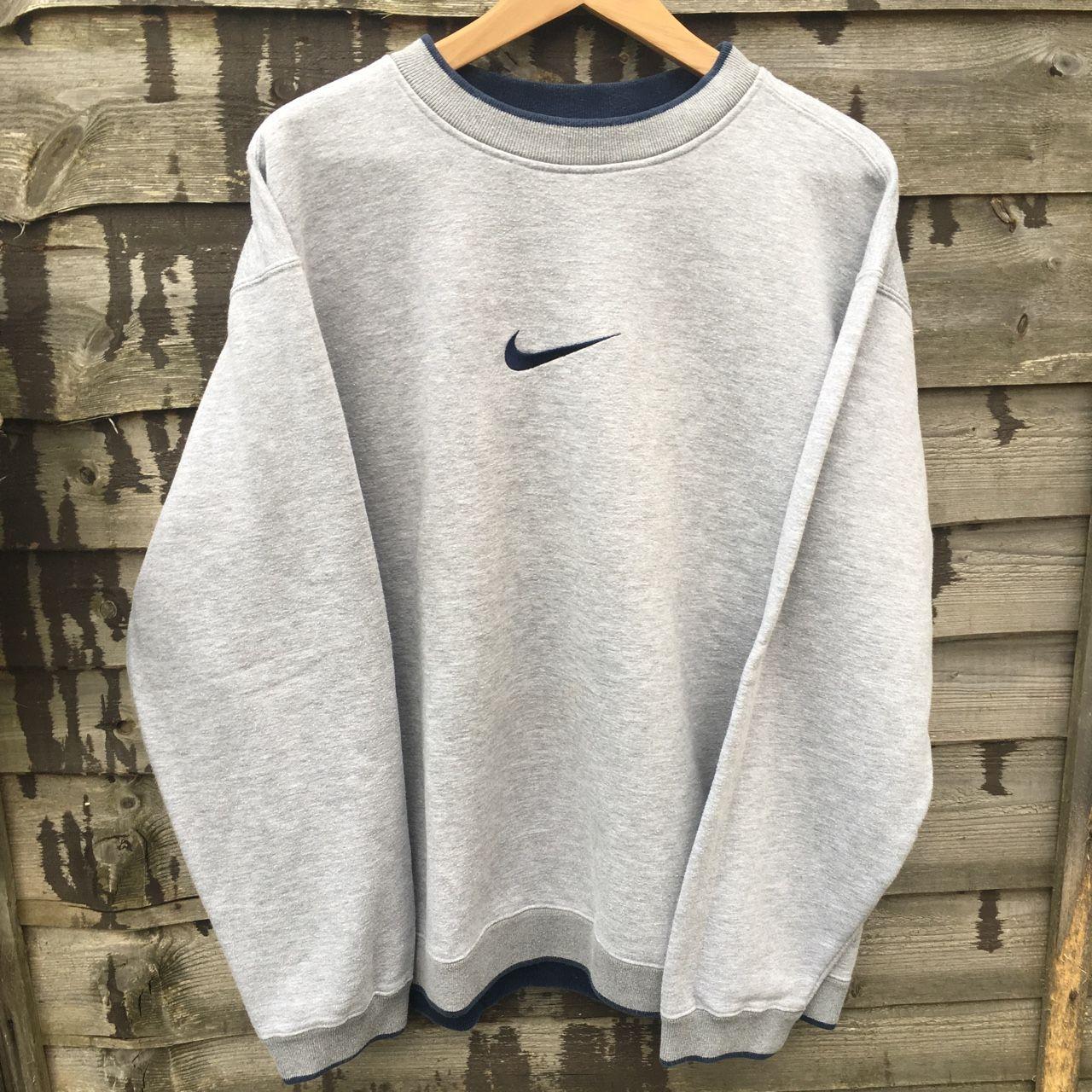 Retro Nike Grey Sweatshirt Size Xl Fits L Xl Depop Vintage Nike Sweatshirt Vintage Hoodies Trendy Hoodies [ 1280 x 1280 Pixel ]
