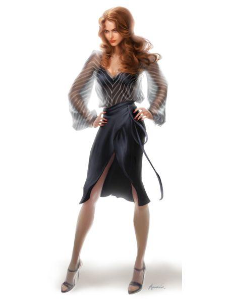 Amy Adams costume sketch for American Hustle