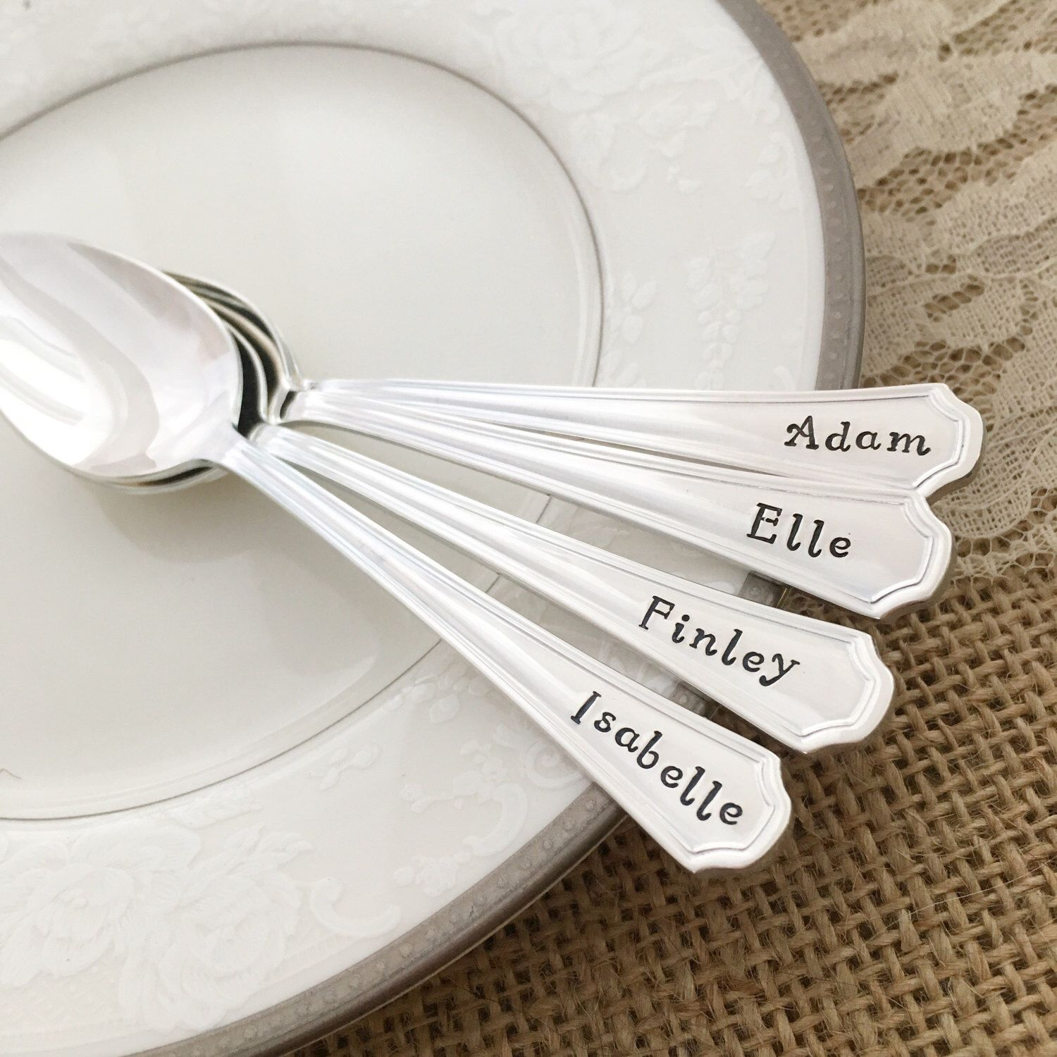 Baby name spoon silver You choose hand stamped