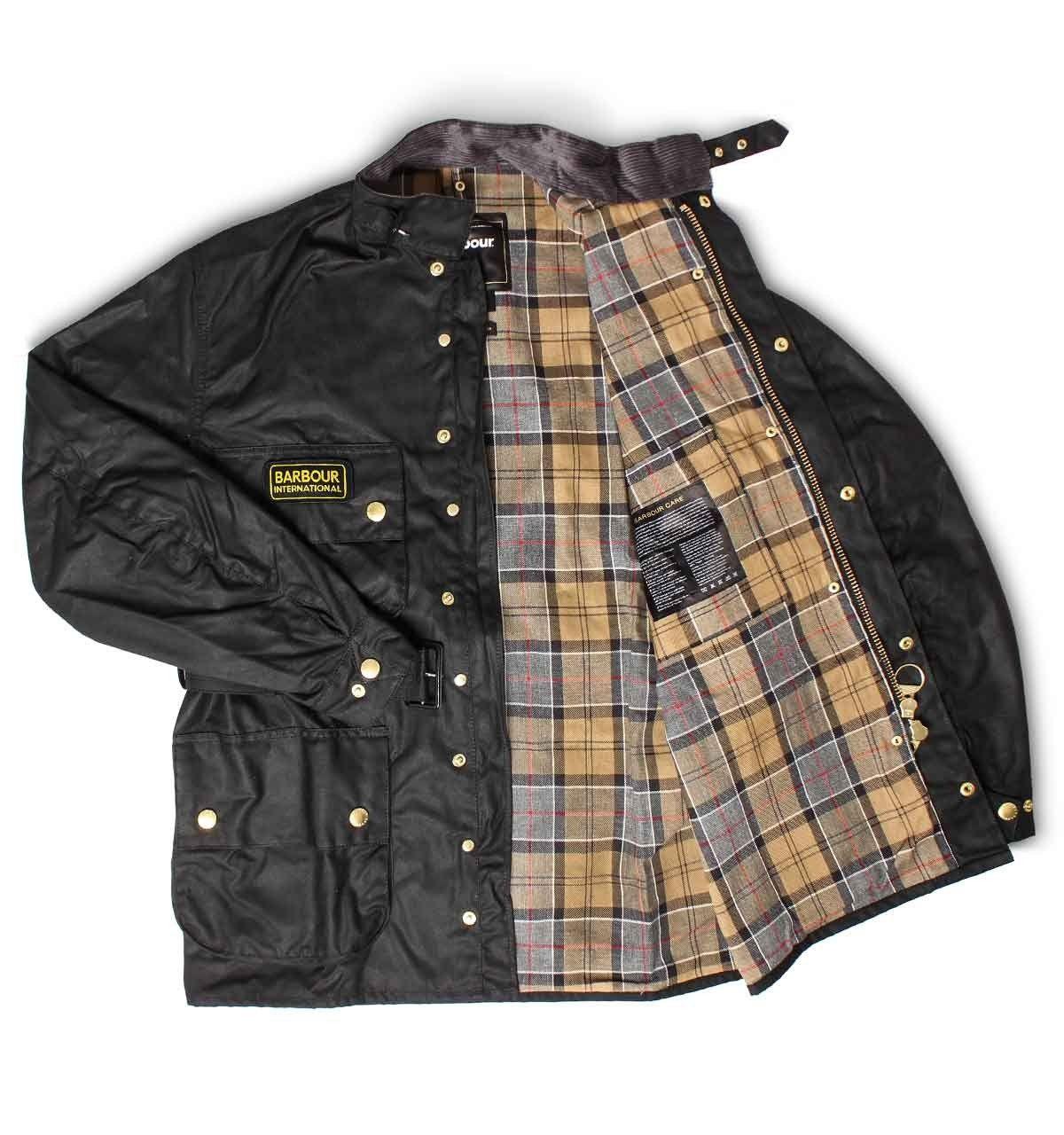 Barbour international slim waxed jacket black