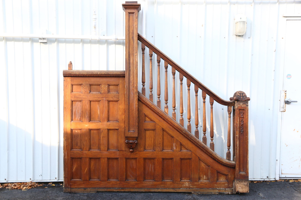 Victorian 1895 Oak Archictectural Salvage Staircase Railings & Newel Posts #staircaserailings