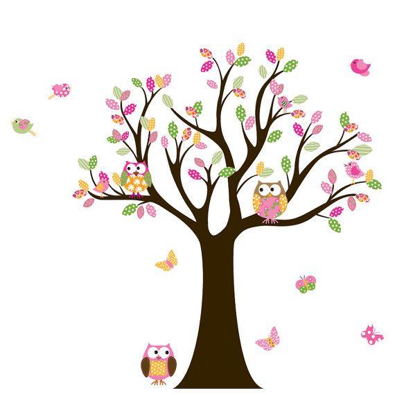 Custom Listing Vinyl Wall Decal Stickers Owl Tree Set Nursery - How do i put up a wall decal