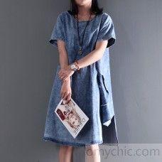 2016 New Asymmetric denim sundress plus size denim summer dresses short sleeve blouse