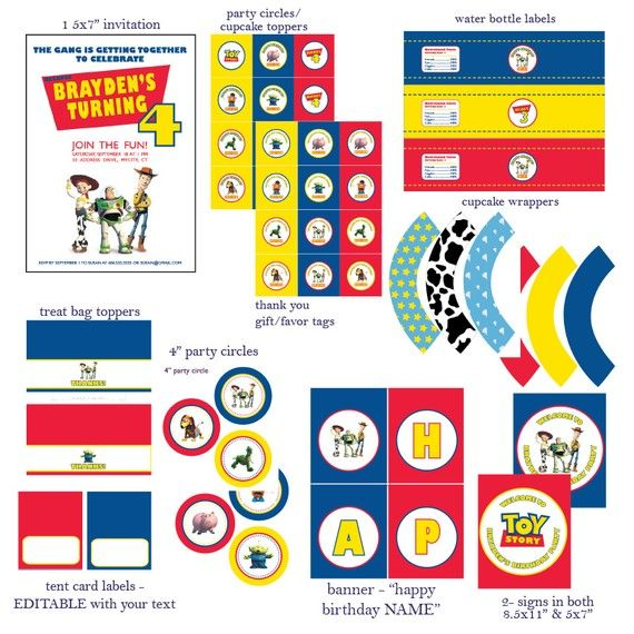DIY Printable Customized Toy Story Party Set By PepCustomDesigns 2000
