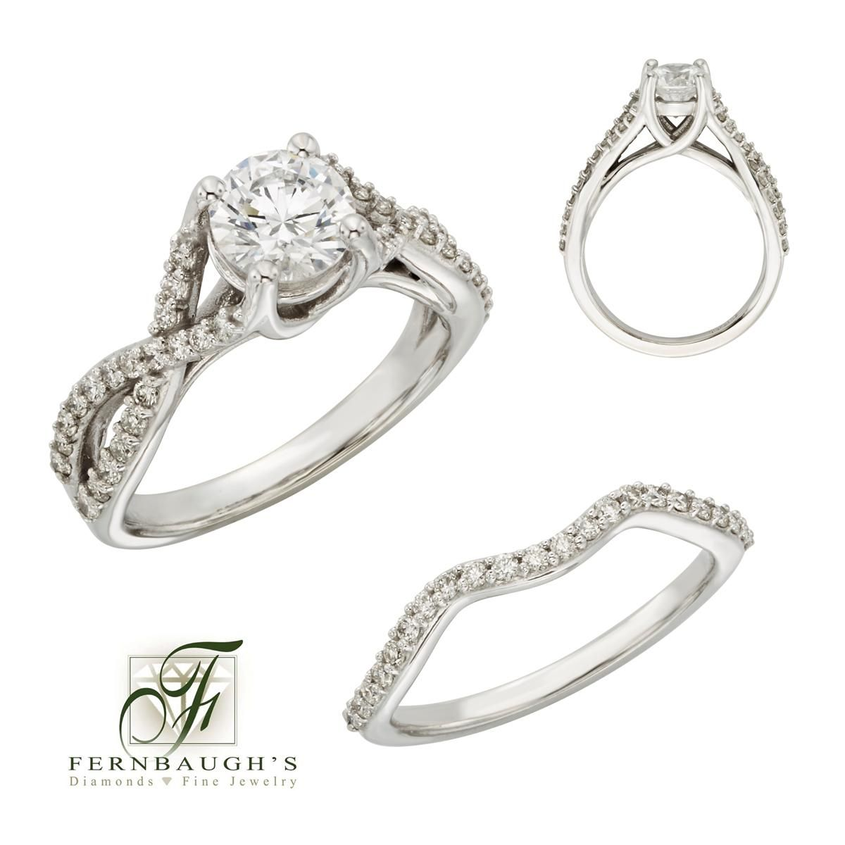 14K White Gold Wedding Set 1carat center 5/8 carat total weight (12A)