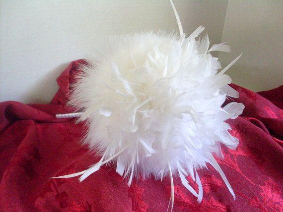 White Feather Wedding Bouquet alternative non by AngelasArtistic, $90.00 #featherbouquet #alternativewedding