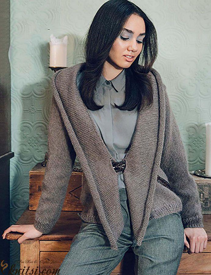 Women cardigan knitting pattern free knitsi.com/knitting ...