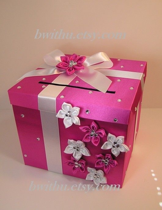 Wedding Quinceanera Sweet 16 Card Box Hot Pink And White Gift Card