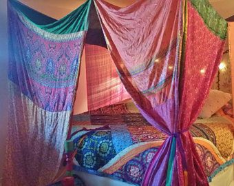 boho canopy handmade floral boho hippie patchwork tent made to order hippiewild multi color bohemian photo backdrop gypsy 18ft - Multi Canopy Decor