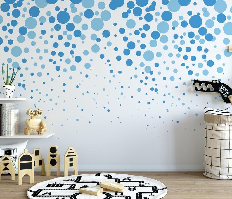 Vibrant Blue Cascading Bubbles Wallpaper Removable Etsy Bubbles Wallpaper Prepasted Wallpaper Peel And Stick Wallpaper