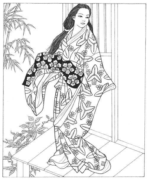 Japanese Coloring Books for Adults  Creativo Kimonos y Pginas