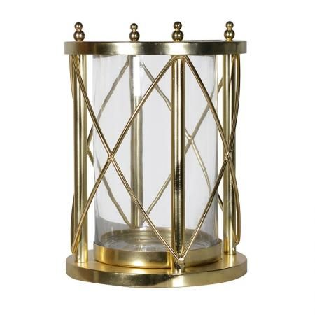 Contemporary Gold Hurricane Vase Candle Holder Furniture