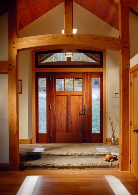 Reclaimed Jarrah Front Door With Large Sidelights And Transom Greets Visitors To This Catskill Mountains Lakeside Timber Frame Homes Timber House Timber Frame