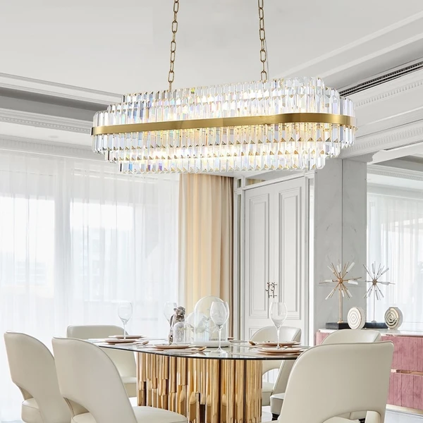 Modern Rectangular Crystal Dining Room Lamp Gold Meeting Room Decoration Living Room Can Be Customized In 2020 Crystal Chandelier Living Room Dining Room Lamps Chandelier In Living Room