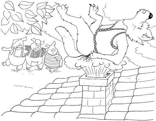 Dibujos De Los Tres Cerditos Y El Lobo Para Colorear Los Tres