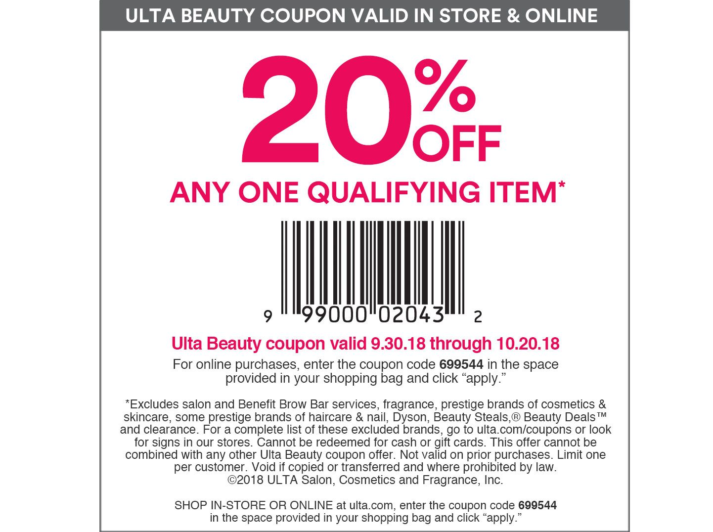 ulta coupon code 20% Off Any One Qualifying Item + More