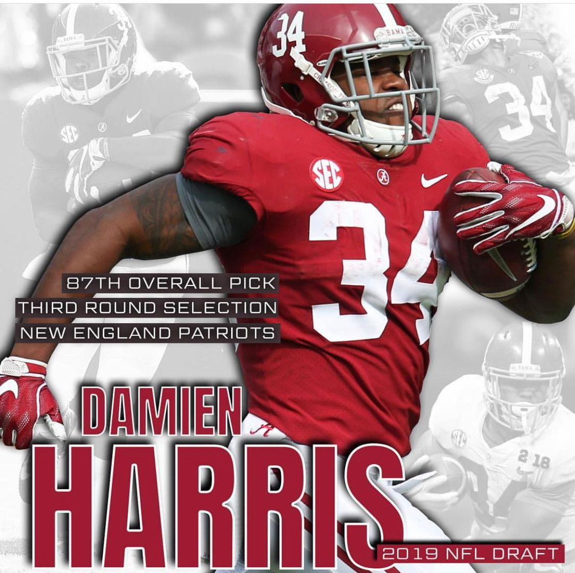 Damien Harris Drafted 87 Overall In 3rd Round By The Patriots 2019nfldraft Alabama Alabama Crimson Tide Football Crimson Tide Football Alabama Crimson Tide
