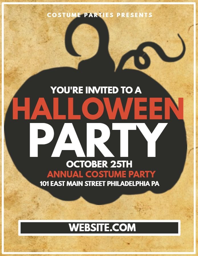 Halloween costume party flyer social media post template