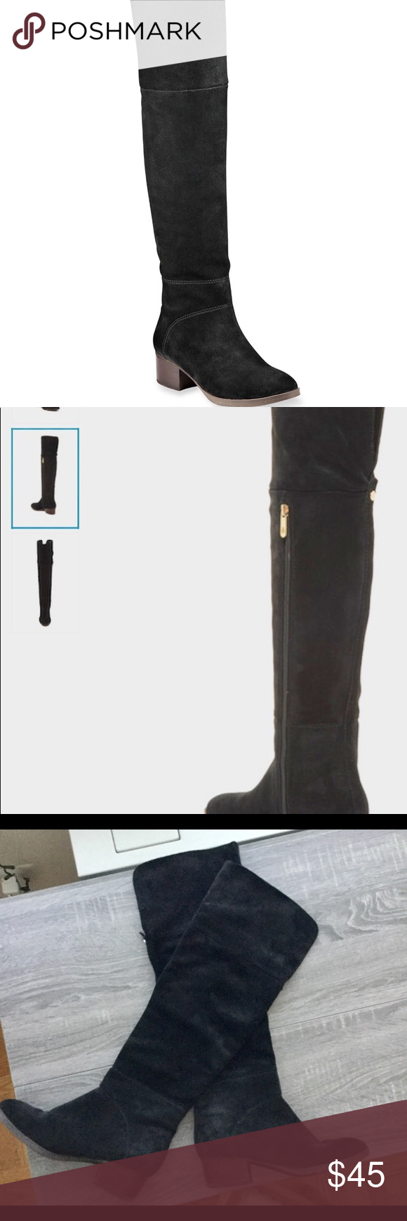 """0481abb21d31ca Suede over-the-knee boot by Tommy Hilfiger Black suede over-the-knee boot  by Tommy Hilfiger. Almond toe  heel is about 1.5""""  side half zip  slightly  slouchy ..."""