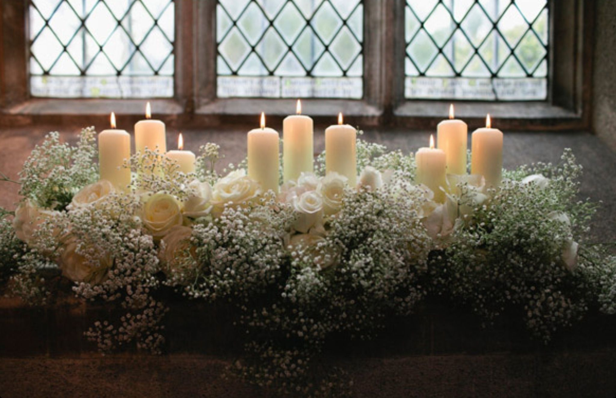 church wedding decorations candles%0A Front of church to go with baby u    s breath pew ends  Church wedding flowers  with u