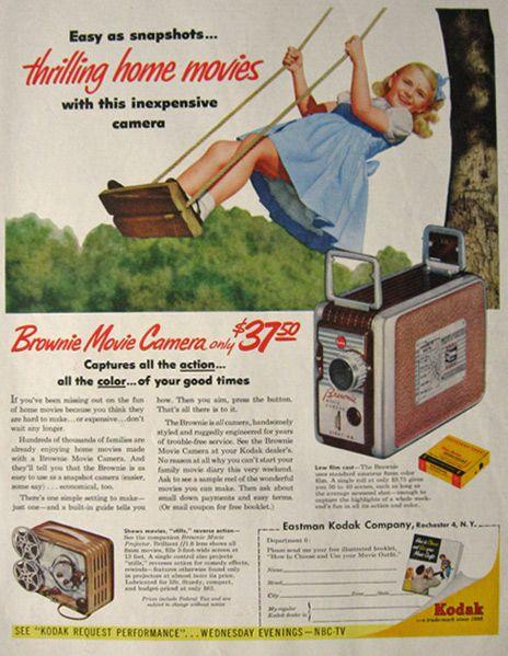 1955 Kodak Brownie Movie Camera Ad Vintage Radio Camera Tv Ads Home Movies Movie Camera Tv Ads