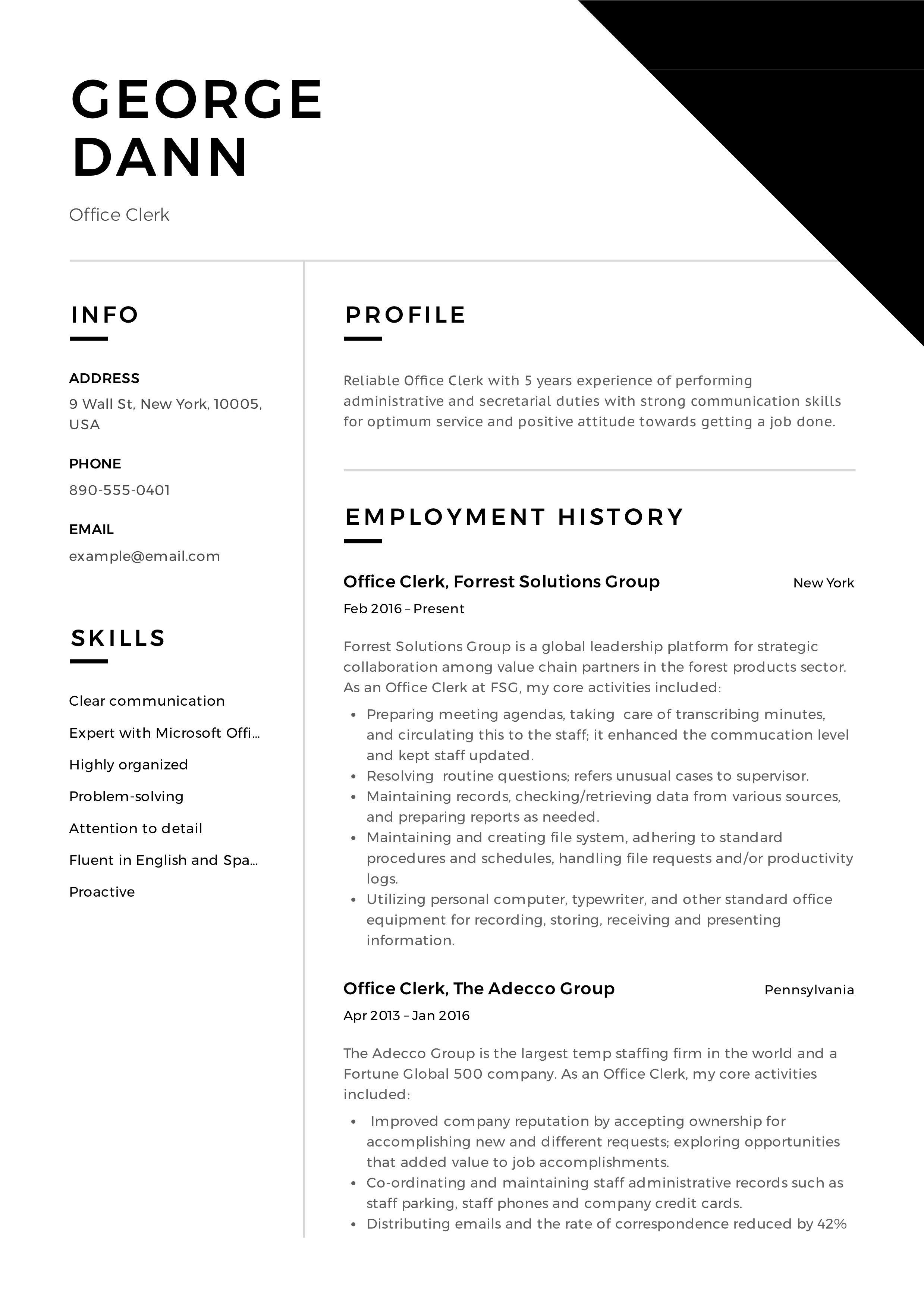 Office Clerk Resume Resume Examples Job Resume Examples Basic Resume Examples