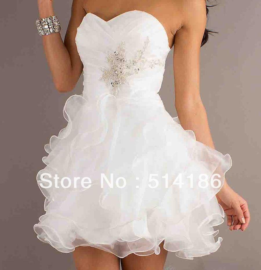 Winter Wonderland Wedding Gowns: Short Strapless Prom Dresses