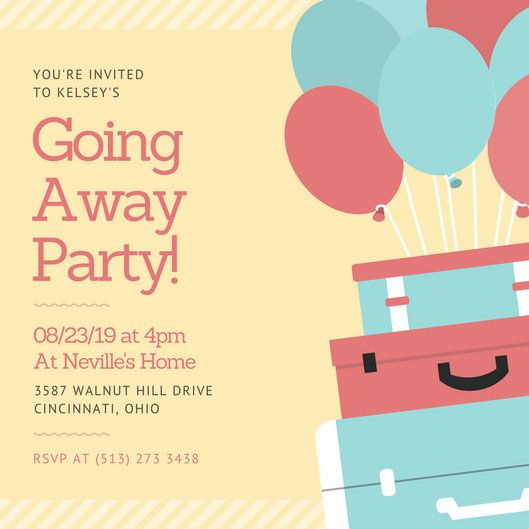 Pastel Luge And Balloons Farewell Party Invitation