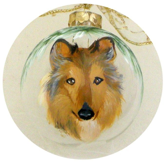 Collie Dog Hand Painted Ornament. $25.00, via Etsy.
