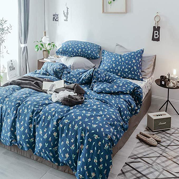 Amazon Com Joyreap 3 Pieces 100 Cotton Navy Blue Floral Duvet Cover Set Queen Cute Pastoral Flower Botan Cozy Bedding Sets Comforter Cover Duvet Cover Sets