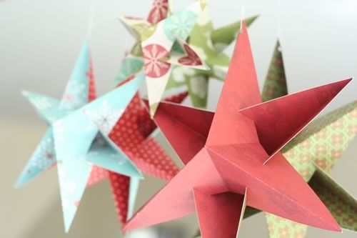 Christmas star decorations to make, with free template using scrap book  paper, no glue