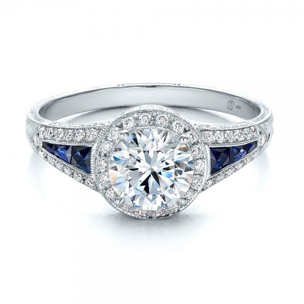 diamond halo and blue sapphire engagement ring wow - Sapphire And Diamond Wedding Rings