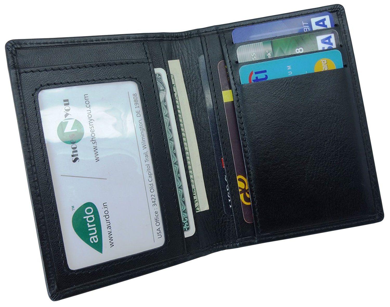 Slim Italian Leather Men/'s Wallet ID CC Large Money Clip Genuine Cowhide Black