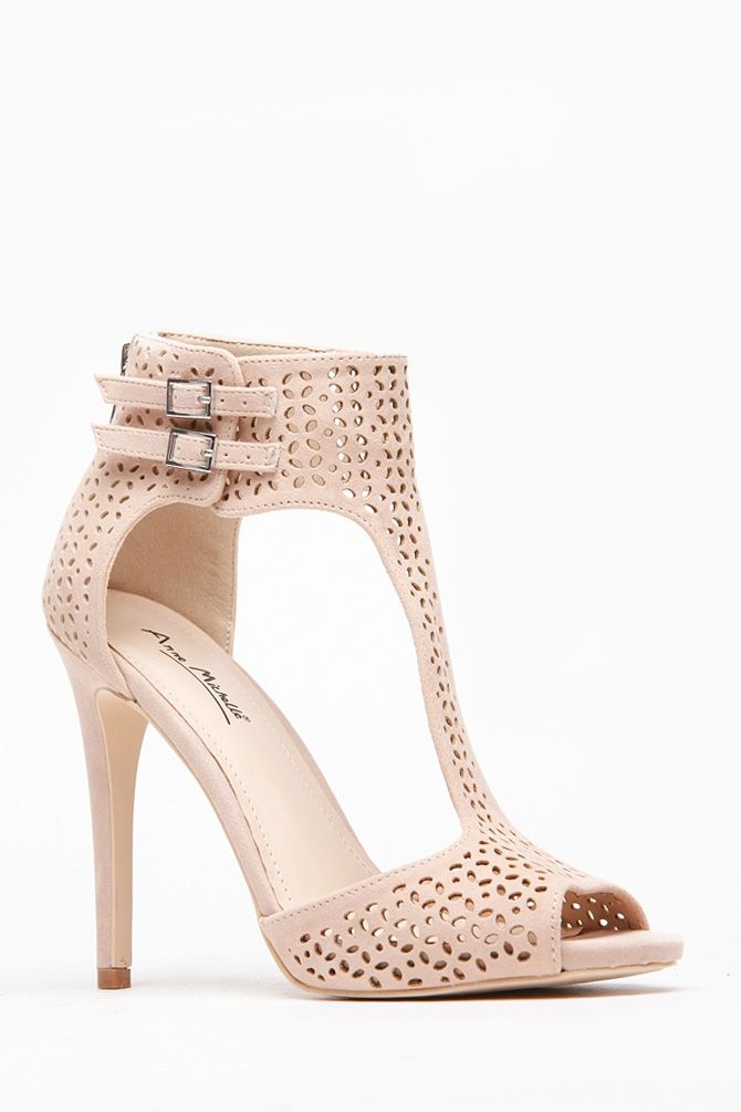 9ee60437490 Anne Michelle Nude Laser Cutout T Strap Heels   Cicihot Heel Shoes online  store sales Stiletto Heel Shoes