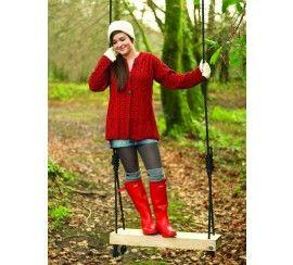Carraig Donn Ladies 100% Merino Wool A Line Cardigan Natural