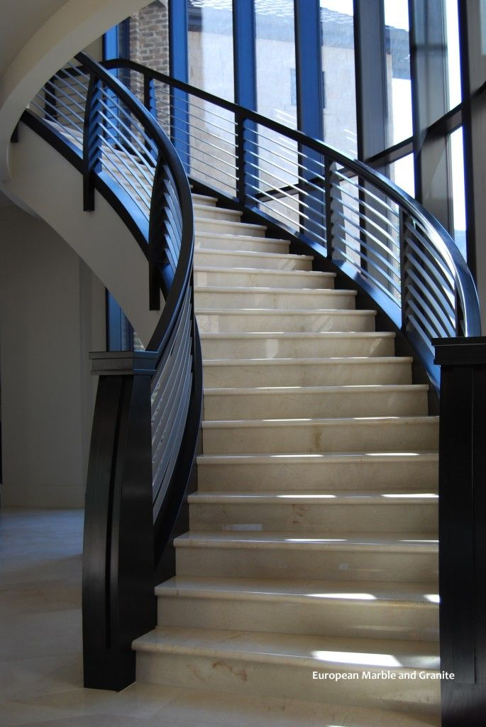 Best Curved Modern Staircase In Crema Marfil Marble Slab With 400 x 300