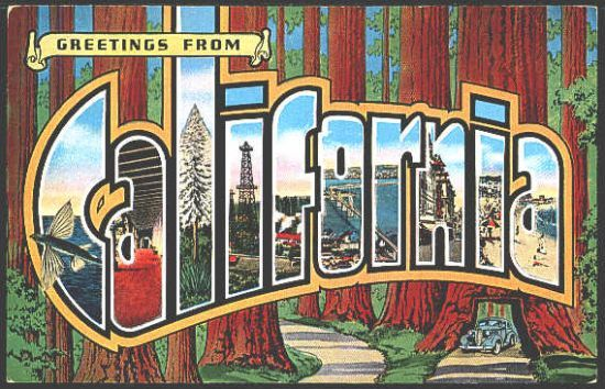 California 1940s Large Letter Greetings From California Vintage Postcard
