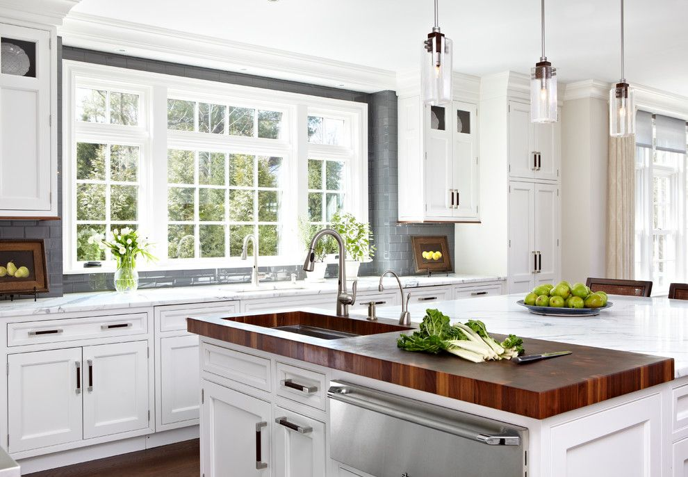 Cool Butcher Block Kitchen Island In Kitchen Traditional With