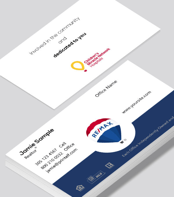 Remax Business Card With Balloon And Children S Hospital Modern Business Cards Design Business Card Modern Free Business Card Design