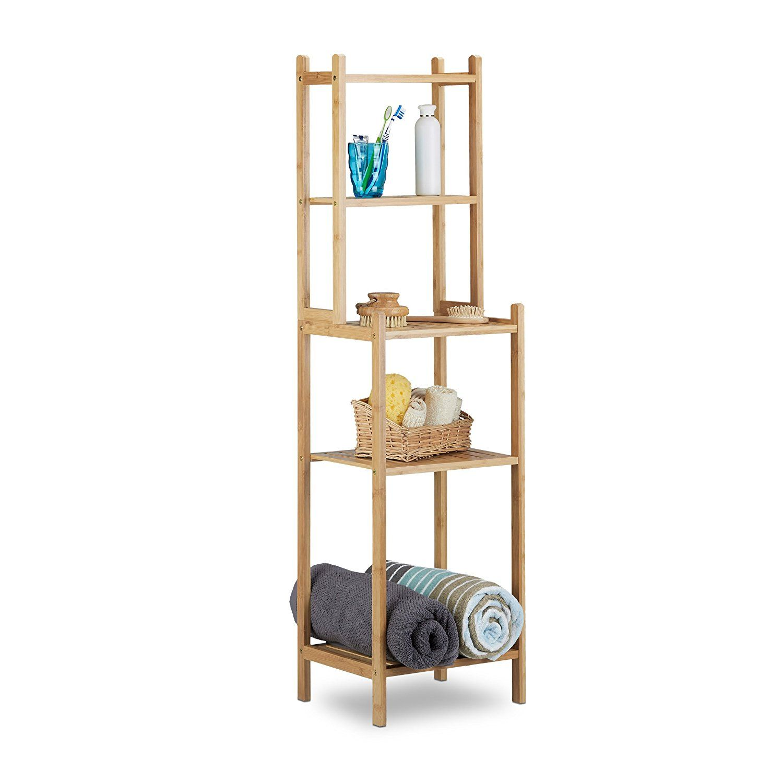 Relaxdays 10020948 Badregal Bambus, 5 Ablagefächer Für Küche, Flur,  Badezimmer, Offenes Standregal