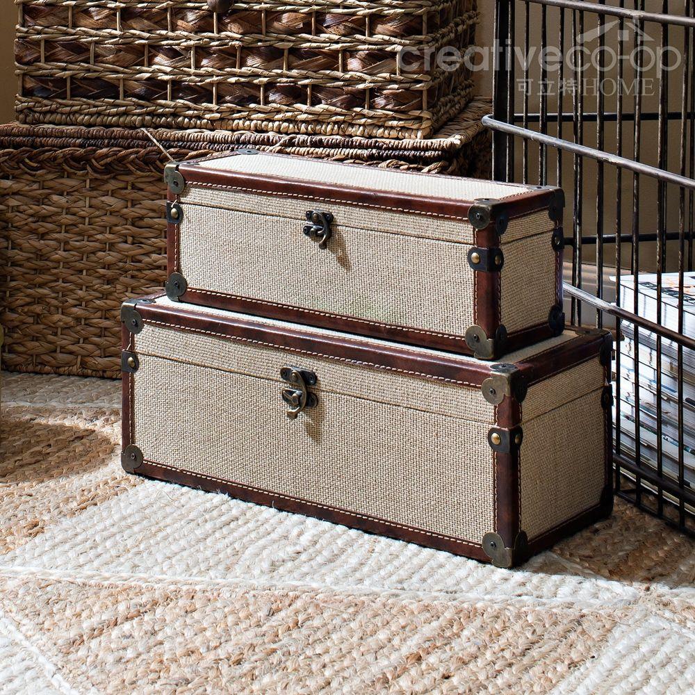 Khaki Canvas Covered Boxes Decorative Storage