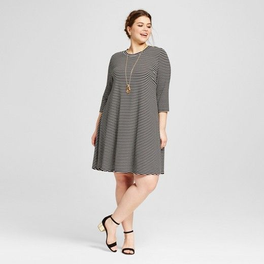 Women\'s Plus Size Striped 3/4 Sleeve Dress : Target | Plus Size ...