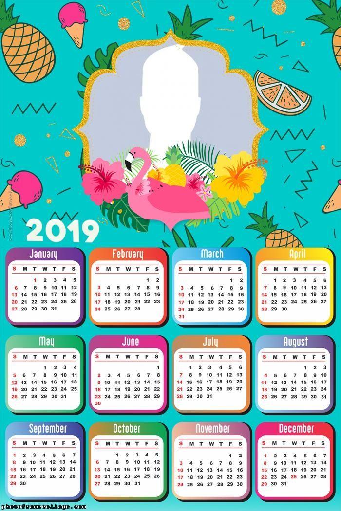 Flamingo Calendar 2019 Frame Photo Montage Free Online ...