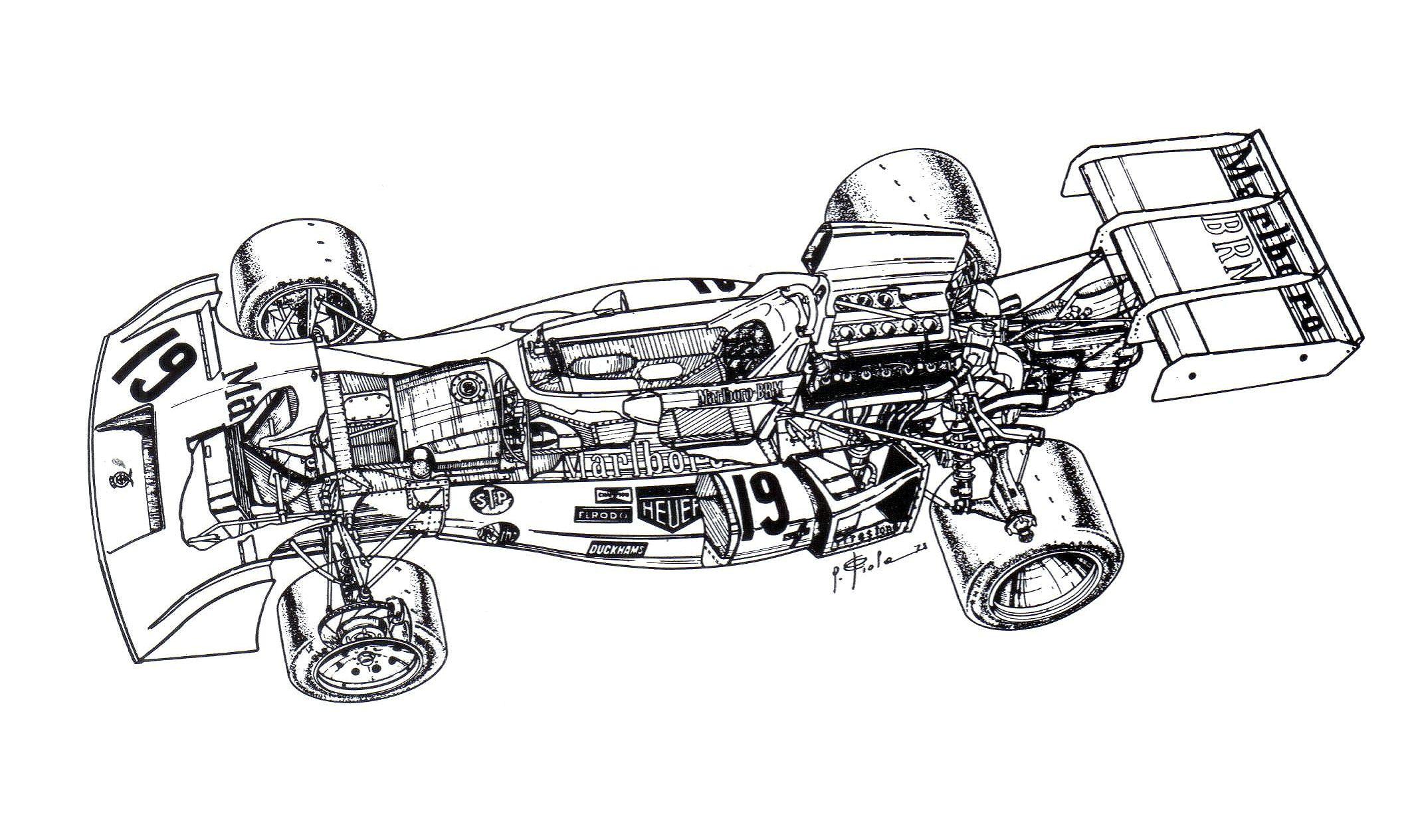 1973-1974 brm p160e - illustration by giorgio piola